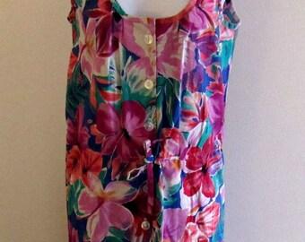 Vintage Womens Floral Hawaiian Print Dress