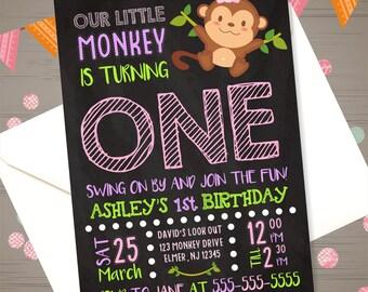 Girl Monkey Invitation Monkey 1st Birthday Invitation Monkey Invite Jungle Invitation Zoo Birthday Safari Invitation Monkey Party Printables