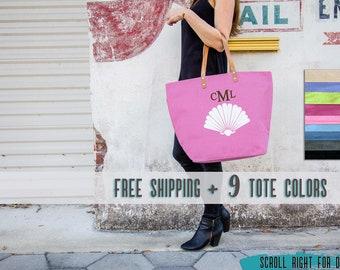 Pink Tote, Shell Tote, Nautical Beach Bag, Burlap Tote Bag, Personalized Bag, Beach Tote Bags for Bridesmaids Gifts, Large Beach Bag