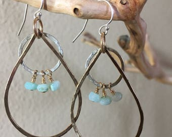 Peruvian  Opals highlight these beautiful handmade teardrop 14K Gold filled hoops with Sterling Silver accents