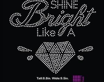 Shine bright like a diamond rhinestone template digital download, svg, eps, studio3, png, dxf