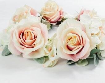 The Amira Crown - Boho Vintage Soft Pink Rose Flower Crown Bridal Hair Wreath