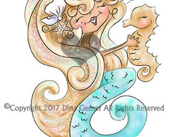 Instant Download Digital Stamp Digi Stamp Misti Mermaid by Dina Gerner
