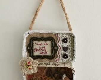 Tin art mixed media wall hanging
