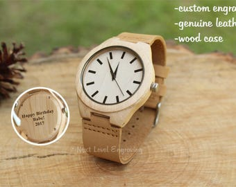 Mens Watch, Boyfriend Gift, Wooden Watches for Men, Husband Gift, Mens Personalized Gift, Mens Leather Wrist Watch, Engraved Wood Watch