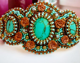 Women beads and stone bracelet. Russian jewelry