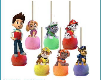 Paw Patrol Cake Pop Toppers Printables -- DIGITAL -- All 7 characters -- Also works on cupcakes!