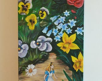 Alice in Wonderland Inspired, Original Painting- Alice with Flowers