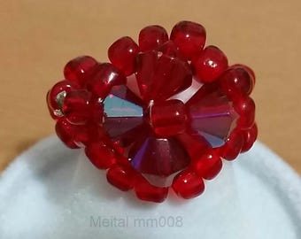 Swarovski diamonds crystal ring - a 6 mm red jewelry