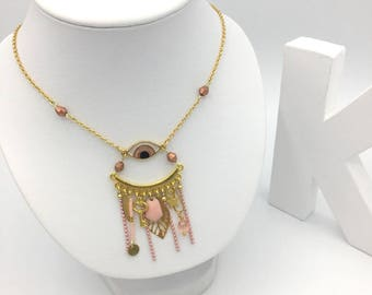 3rd eye pale pink and gold necklace