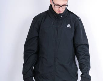 Adidas Mens XL Jacket Parka Hood Nylon Waterproof Tech Fit Vintage