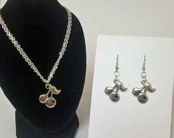 Cherry Necklace & Earrings Set