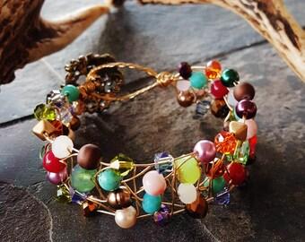 Handmade Wire-Wrapped Spiderweb Bracelet