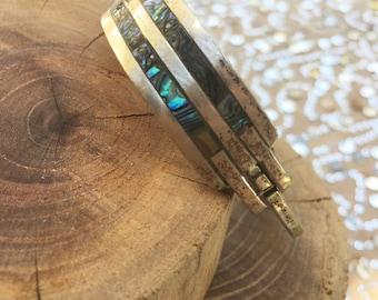 Vintage Abalone Silver Clasp Cuff Bracelet