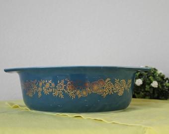 Vintage Rare Pyrex 1965 Promotional Golden Bouquet 1.5 Qt 043 Oval Casserole Dish