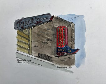 Heritage Boots, South Congress, Austin, Texas - Watercolor