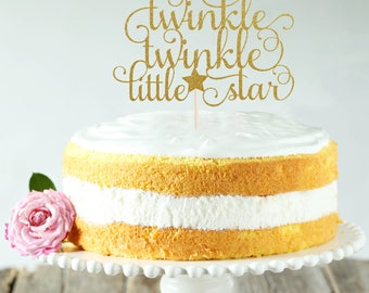 Twinkle Twinkle Little Star Cake Topper, Cake Decoration, Glitter, Gold, Silver, Baby Shower Decoration, Newborn, Birthday, Gender Reveal