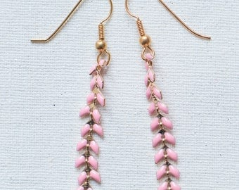 Earrings gold and pink - Collection * Divine in me *.