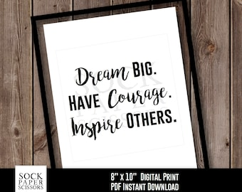 Inspirational Phrase Printable Print, Typography Printable, Dream Big. Have Courage. Inspire Others., PDF Digital Download, SKU-RHO101