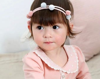 Pink, Grey, Blue, peach, Pom Pom headband elastic, soft elastic, baby girl, pom poms