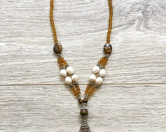 Butterscotch Brown Beaded Necklace with Pearls and Metal Embellishments