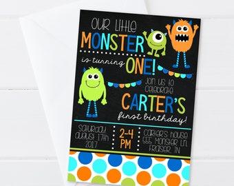 Monster Birthday Invitation - Boy Monster Birthday - Boy First Birthday Invite - Digital/Printable OR Printed & Shipped!