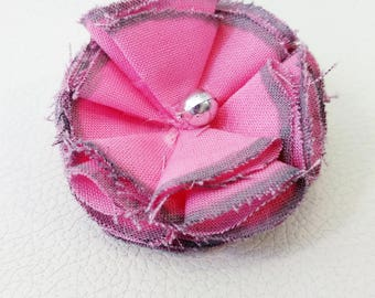 Sliver pink fabric flower barrette silver fabric flower hair clip pink fabric flower hair piece causal accessory hair barrette hair clip