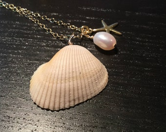 Shell necklace; Starfish Necklace; pearl necklace; starfish charm; 14k gold filled necklace; sea shell