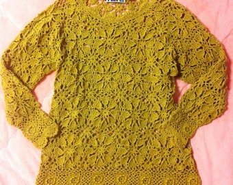 Vintage Crochet Pattern Mini Dress - Mustard Yellow Vintage Dress