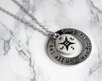 Travel Necklace | Not All Who Wander Are Lost | Travel Jewellery | Explorer | Travel Gift | Wanderlust | Graduation Gift | Gap Year Gift