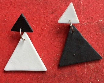 Mod Squad/Black and White/Polymer Clay Drop Earrings