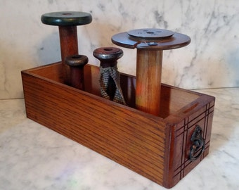 """Wood and Metal Industrial Bobbins """"Lestershire"""" Sewing Machine Drawer 4 bobbins Rustic Cottage Farmhouse Decor Free Shipping Within USA"""