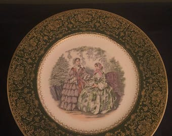 NEW PRICE!!!  Vintage Imperial Salem China Co. Service Plate 23k Gold Two Women