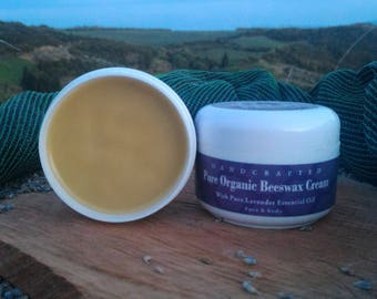 Pure Natural Organic Beeswax Cream w/ Lavender Essential oil 100ml/3.8oz  FREE SHIPPING!