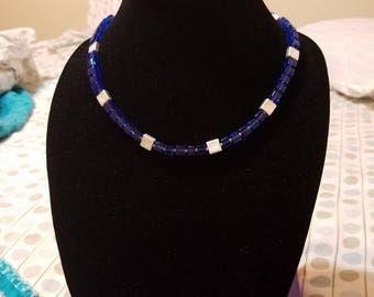 Blue Square Necklace