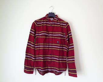 Red DIESEL CO, shirt striped cotton shirt, shirt L vintage