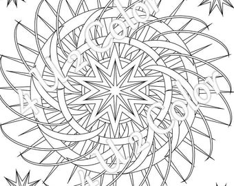 Star Fury   #1, Coloring Page, Star Coloring Page, Adult Coloring Page
