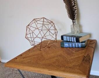 Side Table - Oak - Herring Bone - Flat Bar