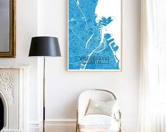 Kobenhavn City Map Print, Custom Map Print, Map, Large Poster, Wall Art, Map Wall Art, Travel Poster, Scandinavian Print, City Map Print
