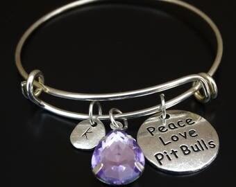 Peace Love Pit Bulls Bracelet, Pit Bull Bangle, Pit Bull Bracelet, Pit Bull Charm, Pit Bull Pendant, Pit Bull Jewelry, Pitbull Bracelet, Dog