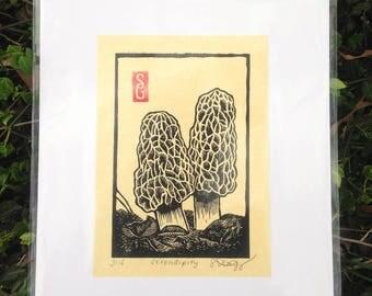 Serendipity Linoleum Block Print