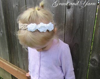 Crochet flower headband, Soft flower headband, Baby headband, Toddler headband, Child headband, Flower headband, Stretchy headband, Cotton