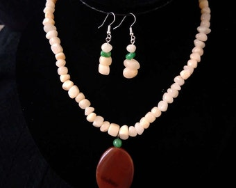 Peach agate necklace +earring set