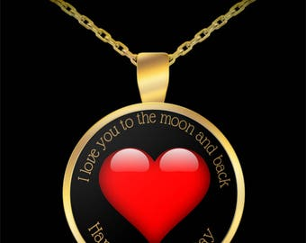 I love you to the moon and back Happy Mother's Day Necklace