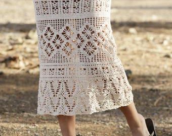 Summer Skirt Long skirt Lace crochet skirt handknit skirt white skirt black skirt victorian skirt steampunk skirt pink skirt Drops Lilith