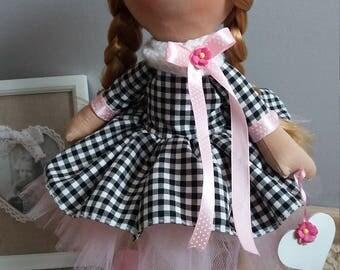 Sofia Tilda Doll 100% Handmade-Doll Textile-Doll Fabric-Doll Rag-Doll Original gift. One of a kind Doll.