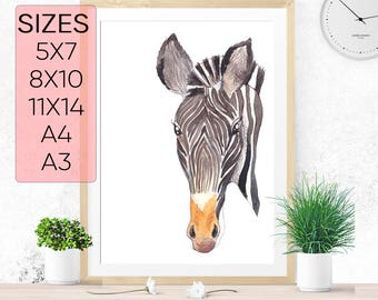 Zebra print, PRINTABLE art, Baby animals, Zebra nursery, Tropical zebra print, nursery art, Zebra wall art, animal wall art