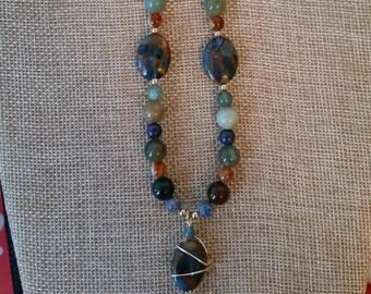 Golden Aqua Quartz, Mixed Gemstone Necklace