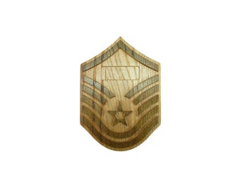 AIR FORCE E7 Rank Plaque Master Sergeant MSgt Carved Wall Wooden Military usaf Promotion Retirement Gift