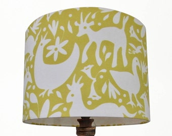 Yellow Mexican Spring Mark Hearld style Handmade 20cm 30cm 40cm Drum Lampshade Perfect for a Nursery